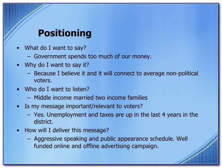 Political Campaign Plan Sample