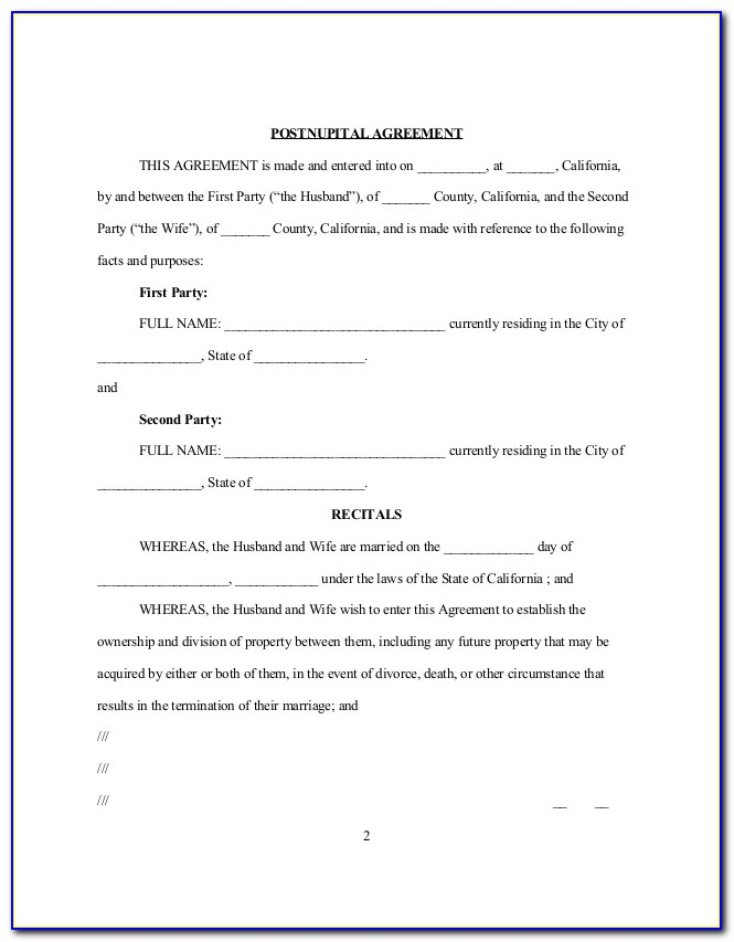 Post Nuptial Agreement Template California