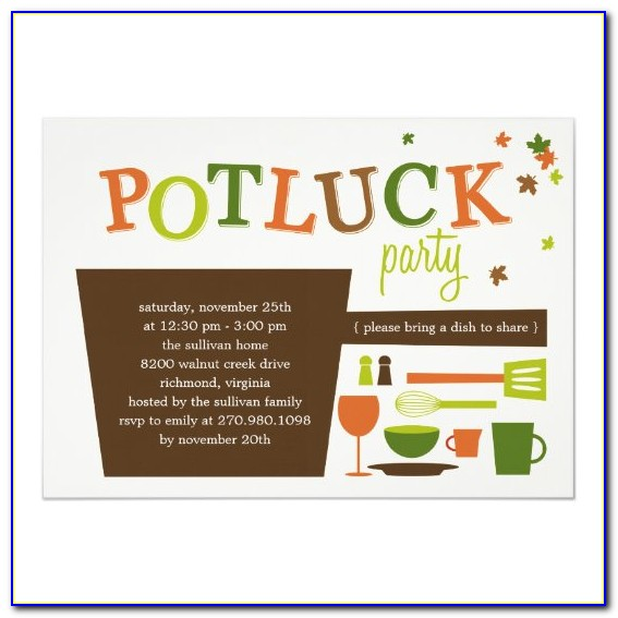 Potluck Dinner Invitation Templates