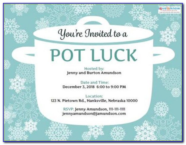 Potluck Email Invitation Template