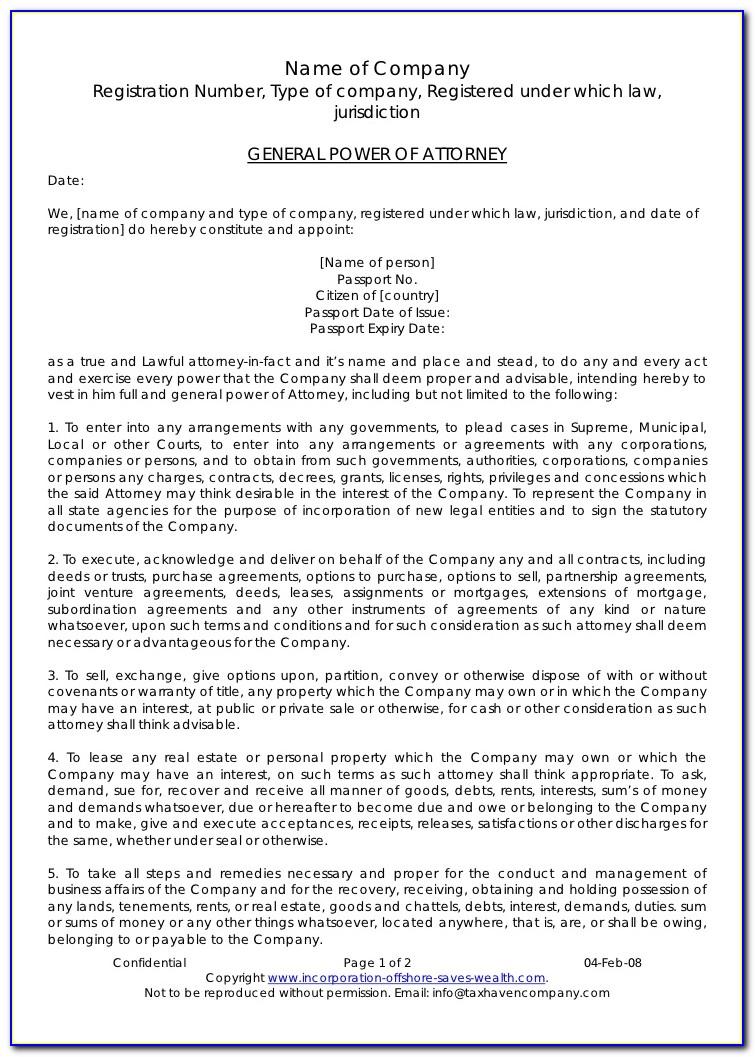 Power Attorney Letter Pdf