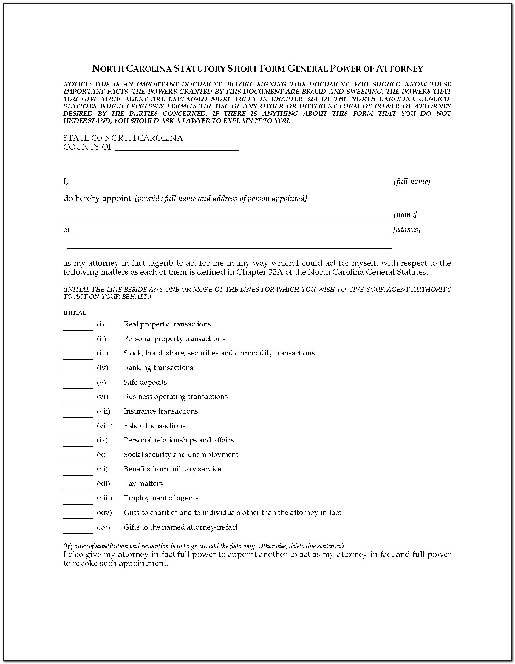Power Of Attorney Child Form Template