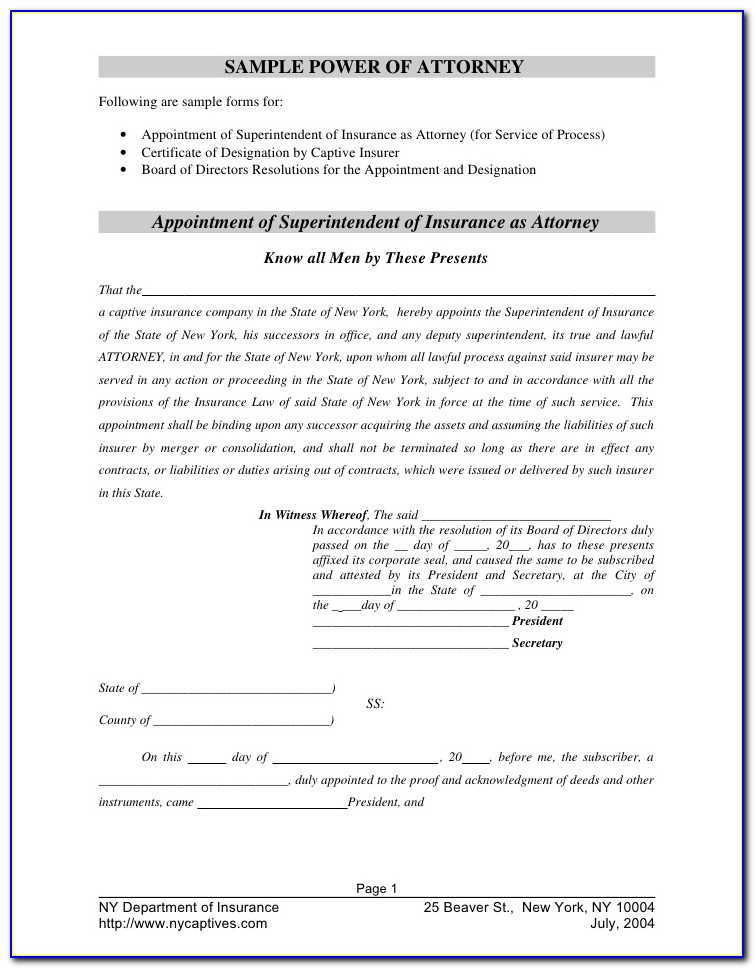 Power Of Attorney Documentation