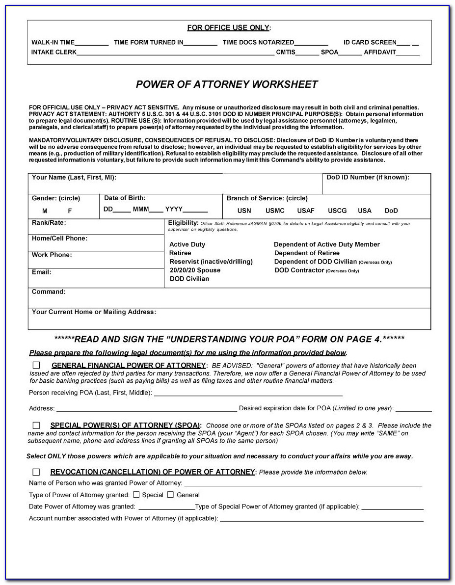 Power Of Attorney Example Doc