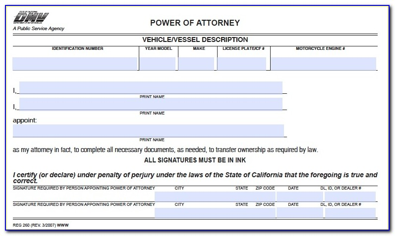 Power Of Attorney Form California 2015