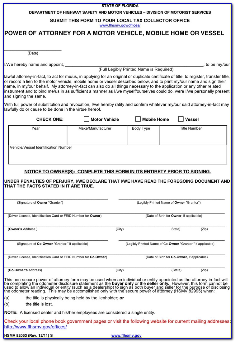 Power Of Attorney Form Florida In Spanish