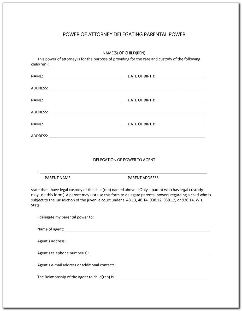 Power Of Attorney Form Letters