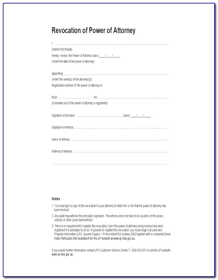 Power Of Attorney Form Nsw Download