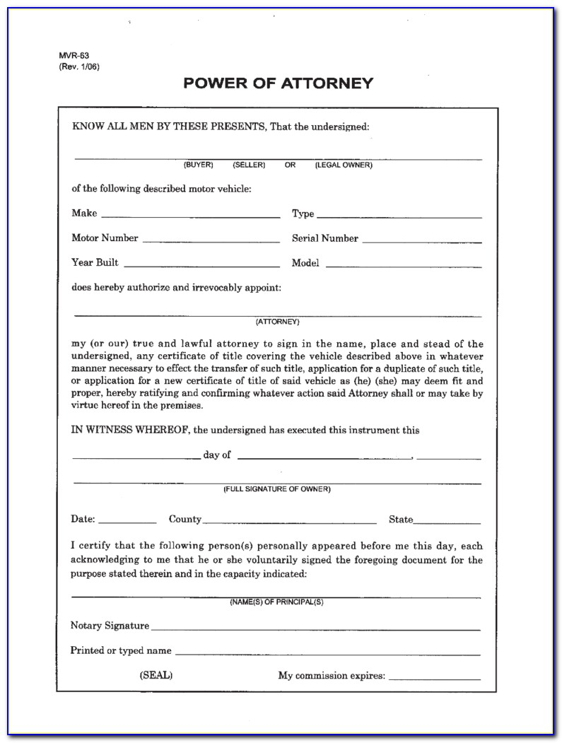 Power Of Attorney Form Template Nc