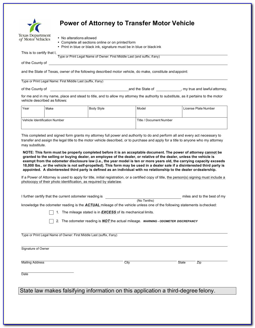 Power Of Attorney Form Texas Car Title