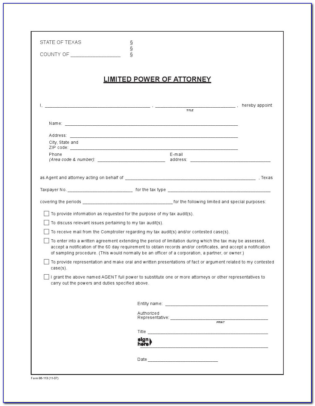 Power Of Attorney Form Texas Sample