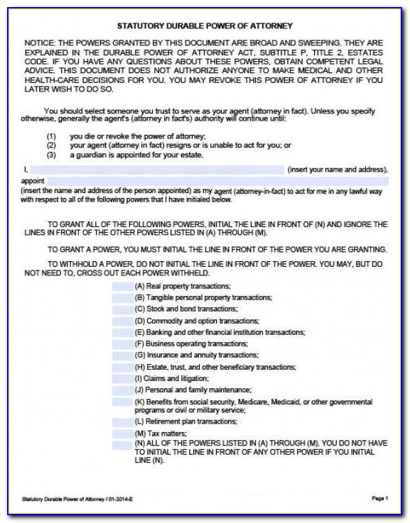 Power Of Attorney Form Texas Template