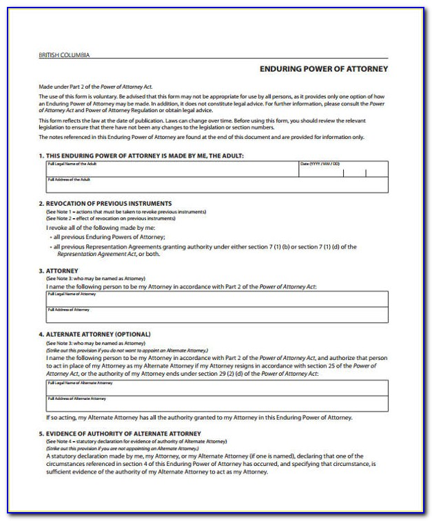 Power Of Attorney Format India