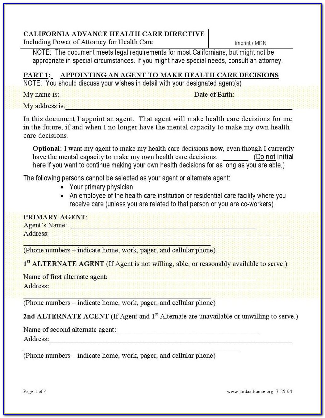 Power Of Attorney Forms California
