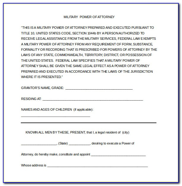 Power Of Attorney Free Template Sample