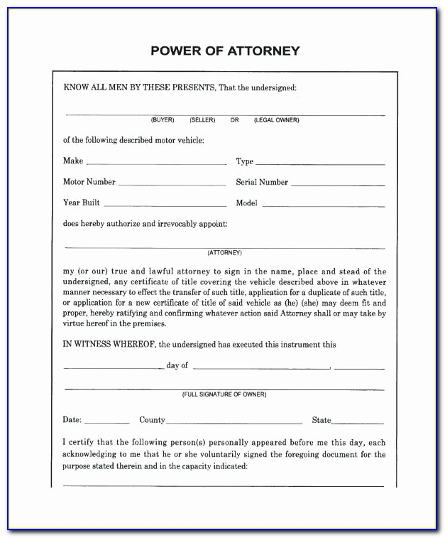 Power Of Attorney Letter Pdf
