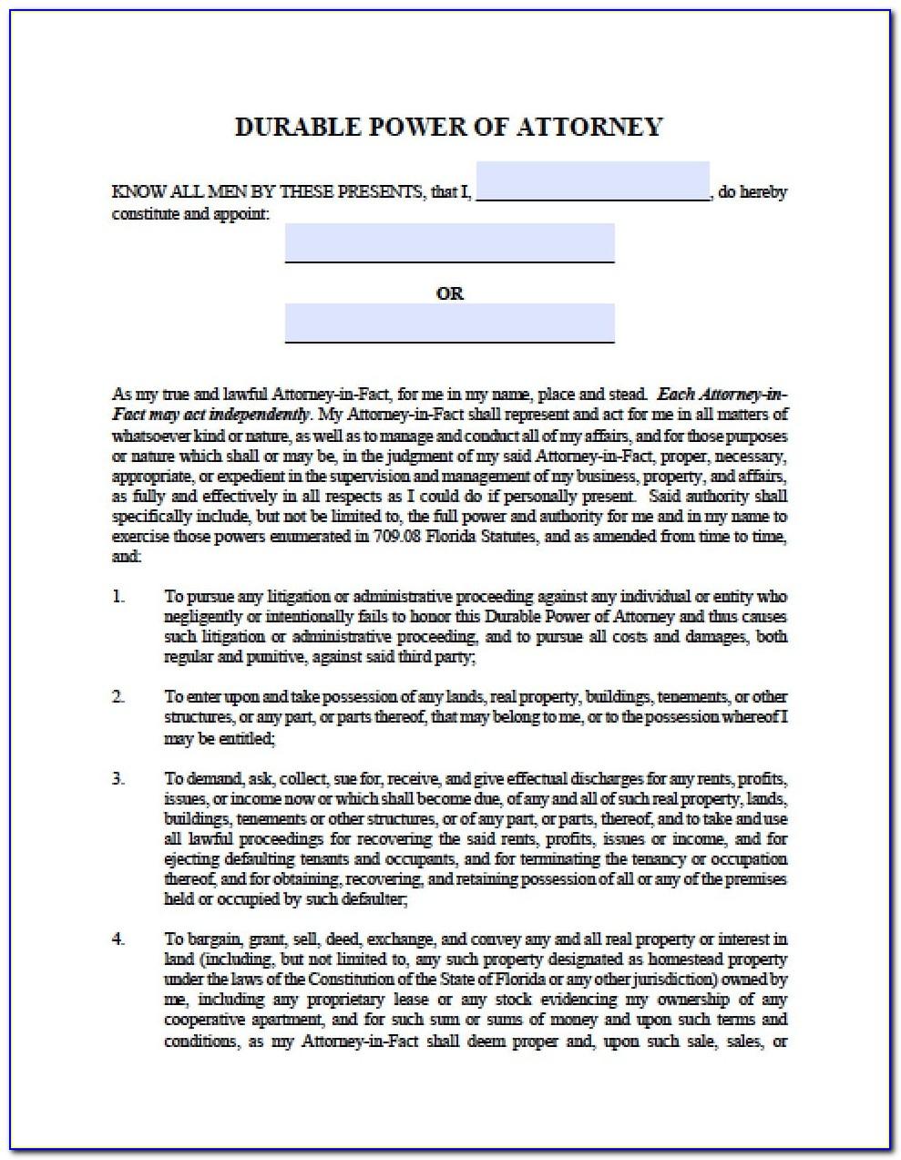 Power Of Attorney Paperwork Florida