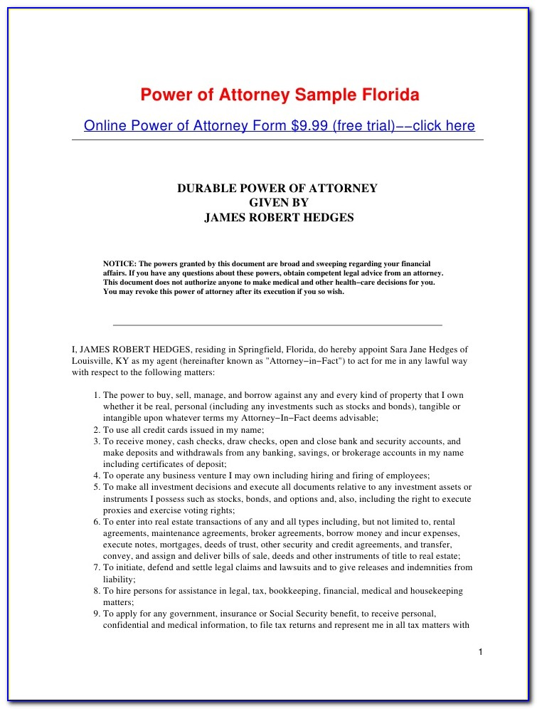 Power Of Attorney Paperwork Texas