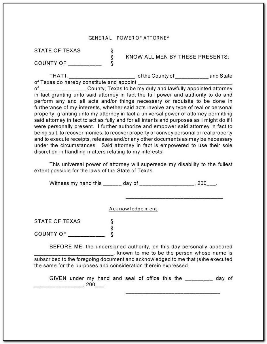 Power Of Attorney Template Free South Africa