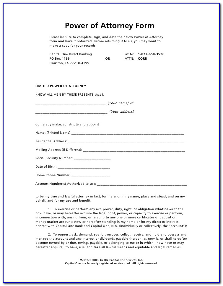 Power Of Attorney Template General