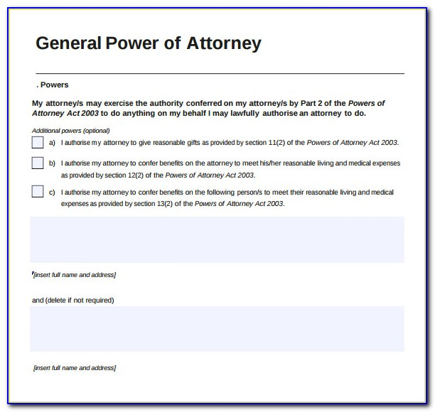Power Of Attorney Template Nsw