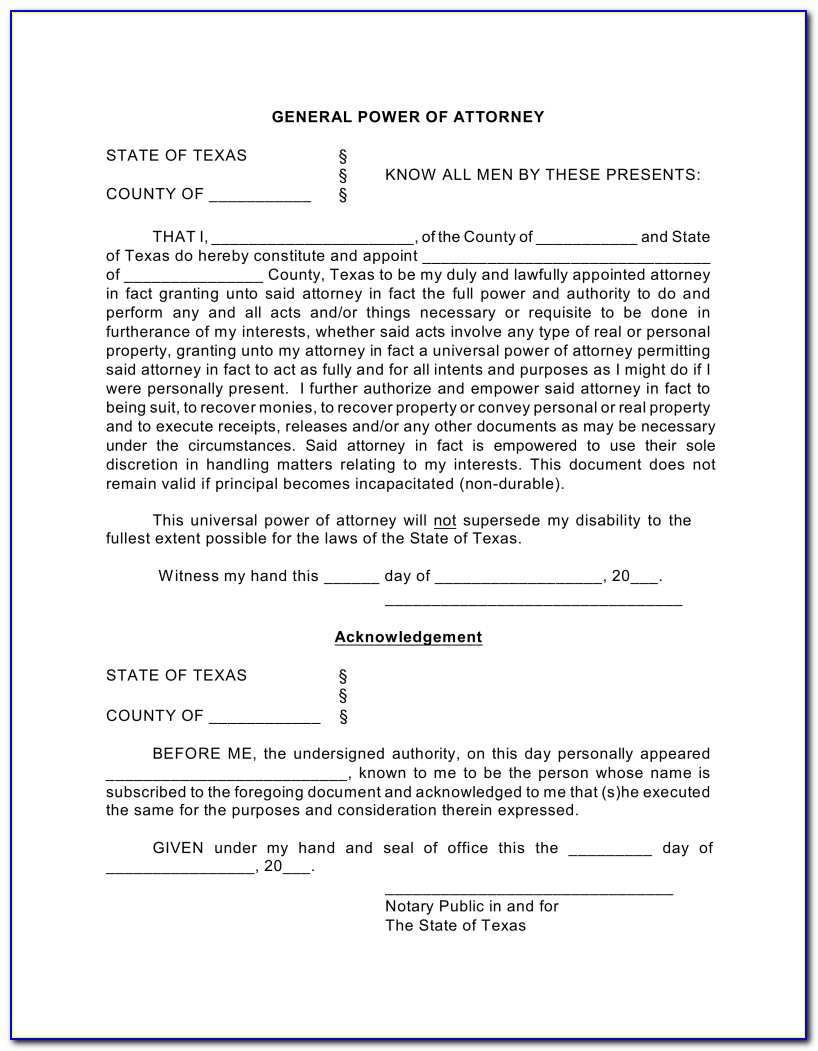 Power Of Attorney Texas Form 2018