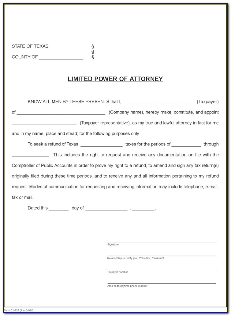 Power Of Attorney Texas Form For Vehicle
