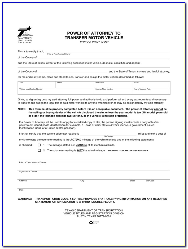 Power Of Attorney Texas Printable