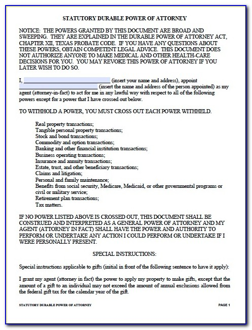 Power Of Attorney Texas Template
