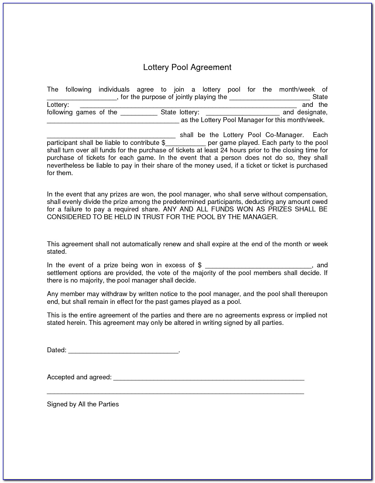 Powerball Lottery Pool Agreement Template