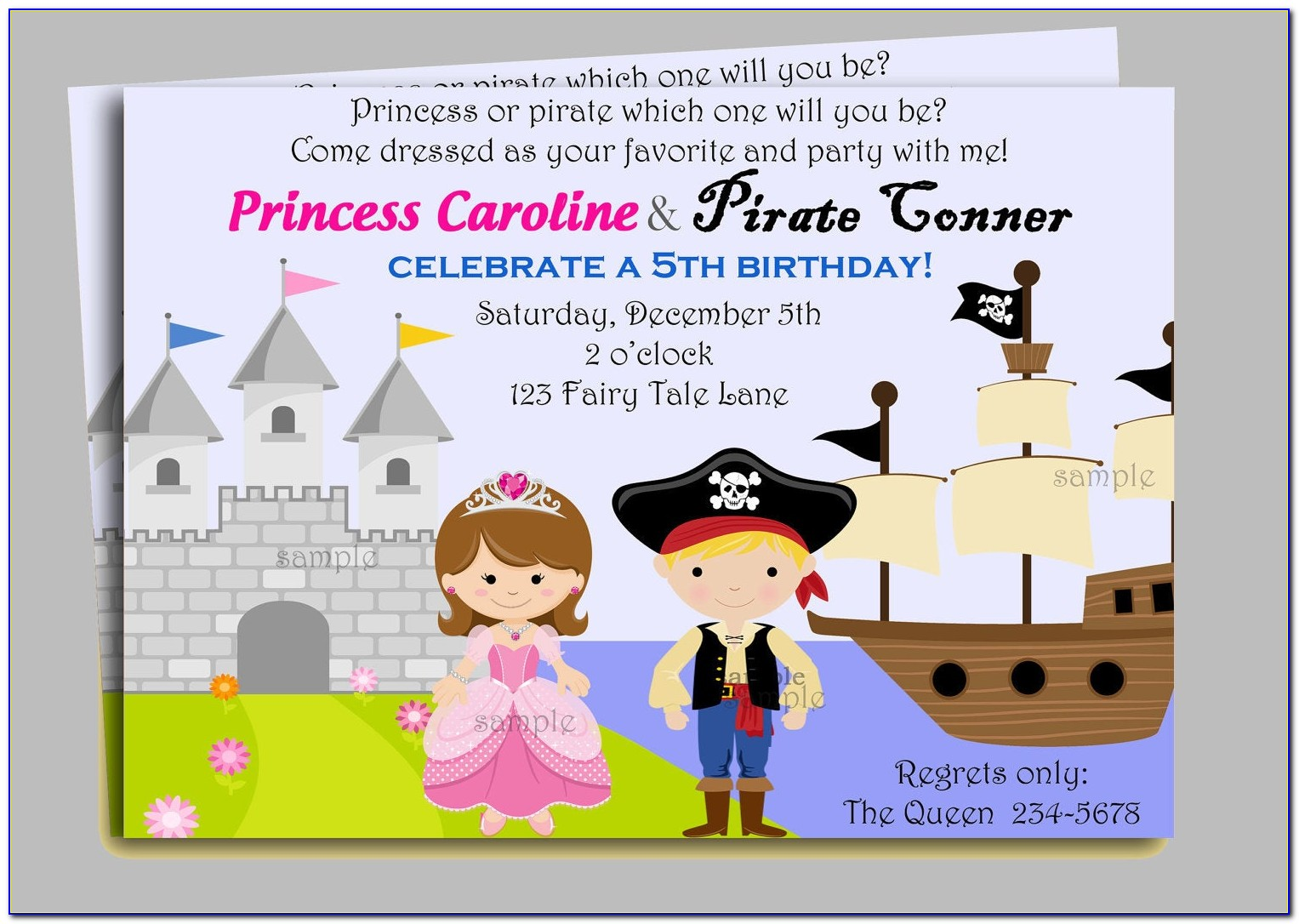 Princess And Pirate Invitation Template Free