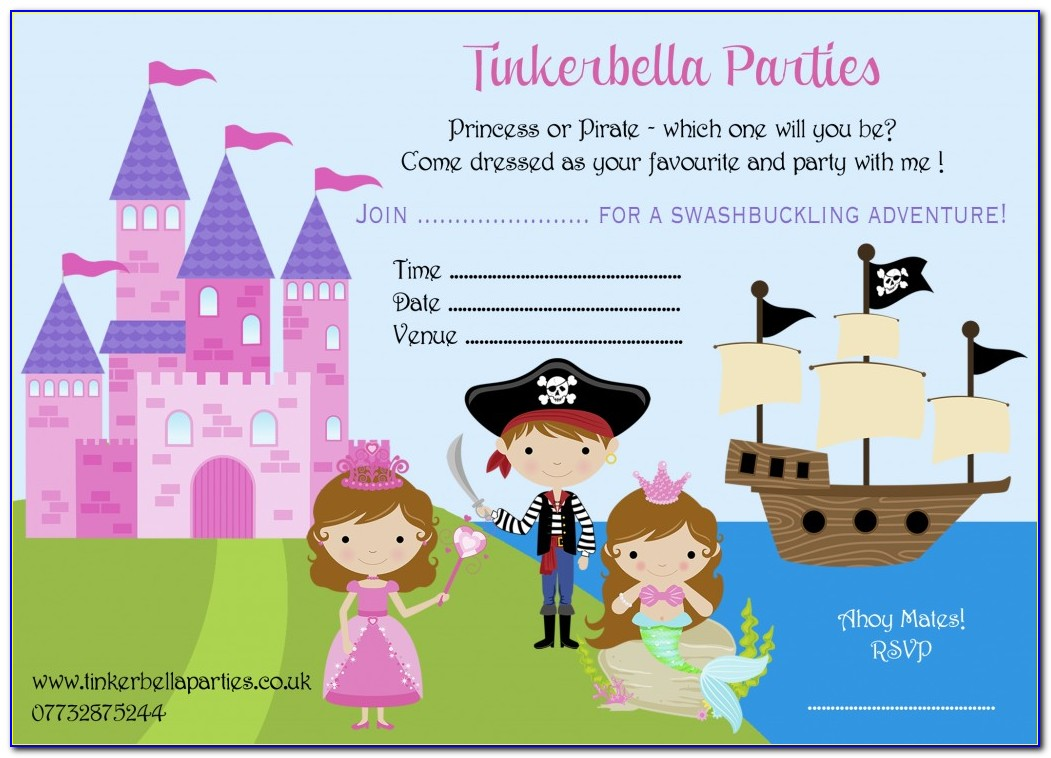 Princess And Pirate Party Invitation Template Free