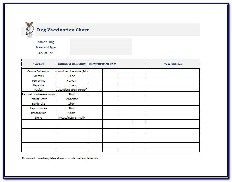 Puppy Immunization Record Printable