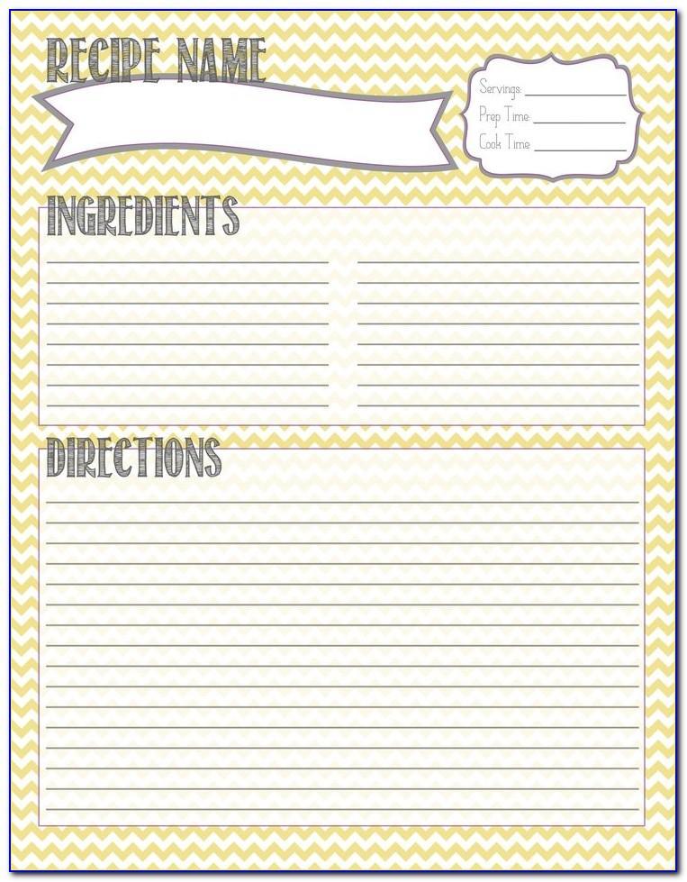 Recipe Page Template Free Printable