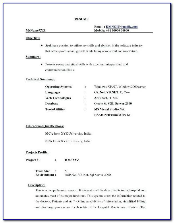 Resume Format For Pharmacy Freshers Doc