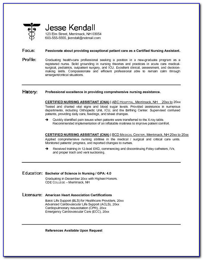 Rn Resume Template New Grad