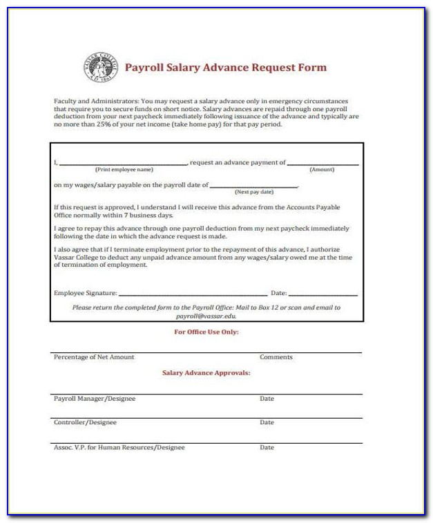 Salary Advance Agreement Form