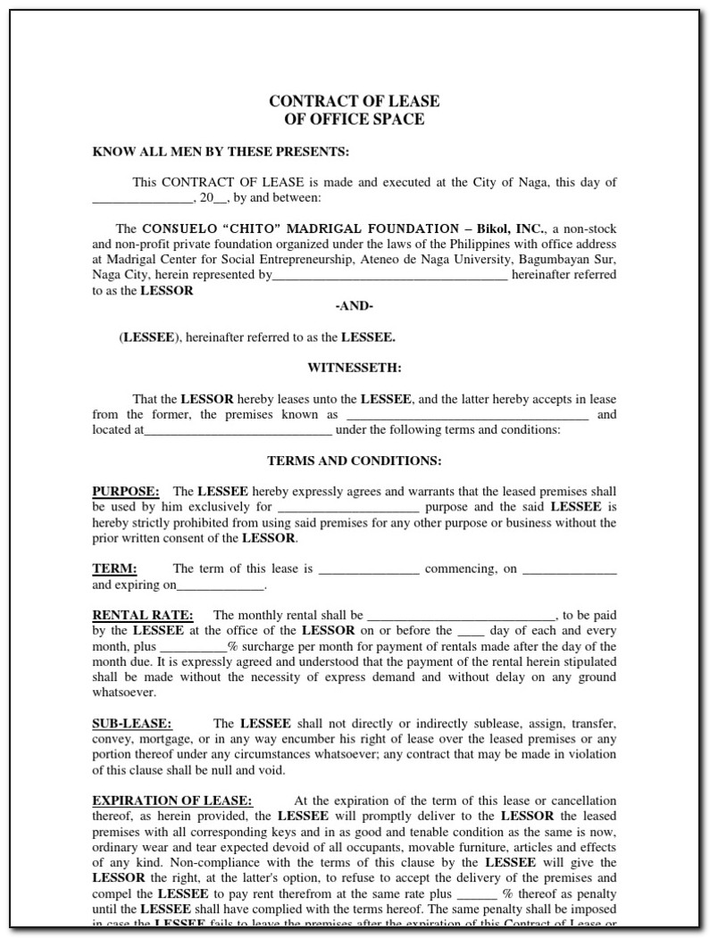 Sample Commercial Office Space Lease Agreement
