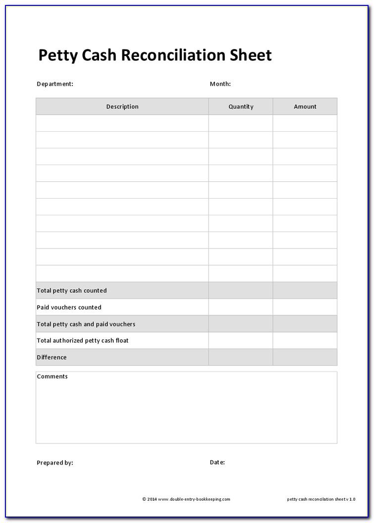 Sample Petty Cash Reconciliation Form
