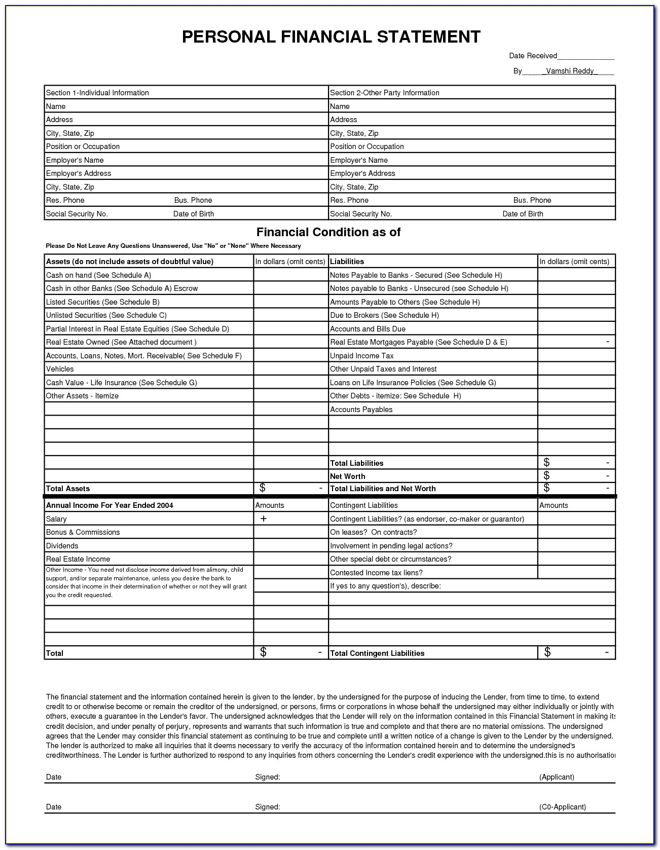 Sba Personal Financial Statement Excel Template