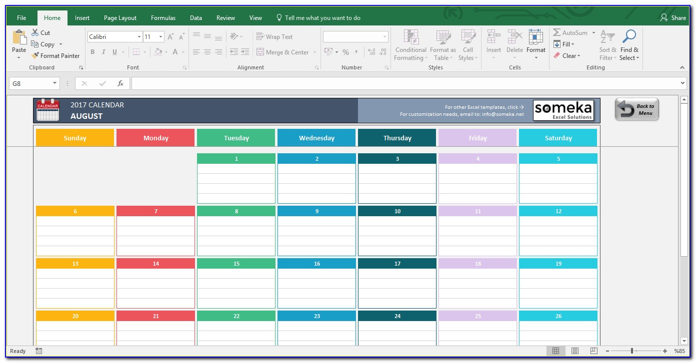 Yearly Planning Calendar Template Excel
