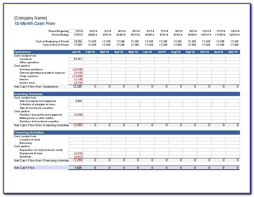 12 Month Cash Flow Statement Sample