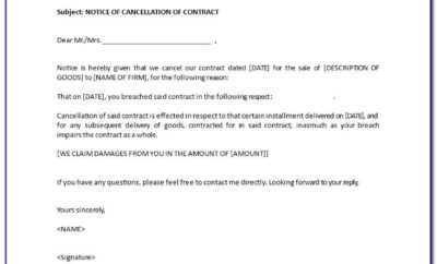 30 Day Notice Of Cancellation Of Contract Sample