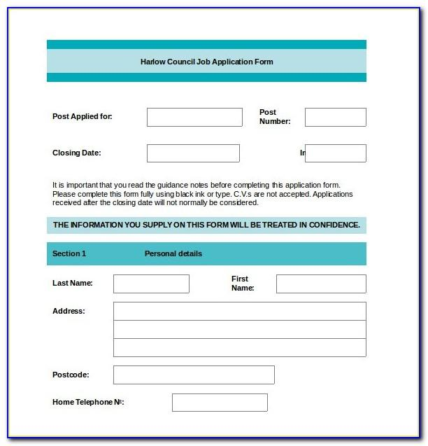 Application Form Template Word Uk