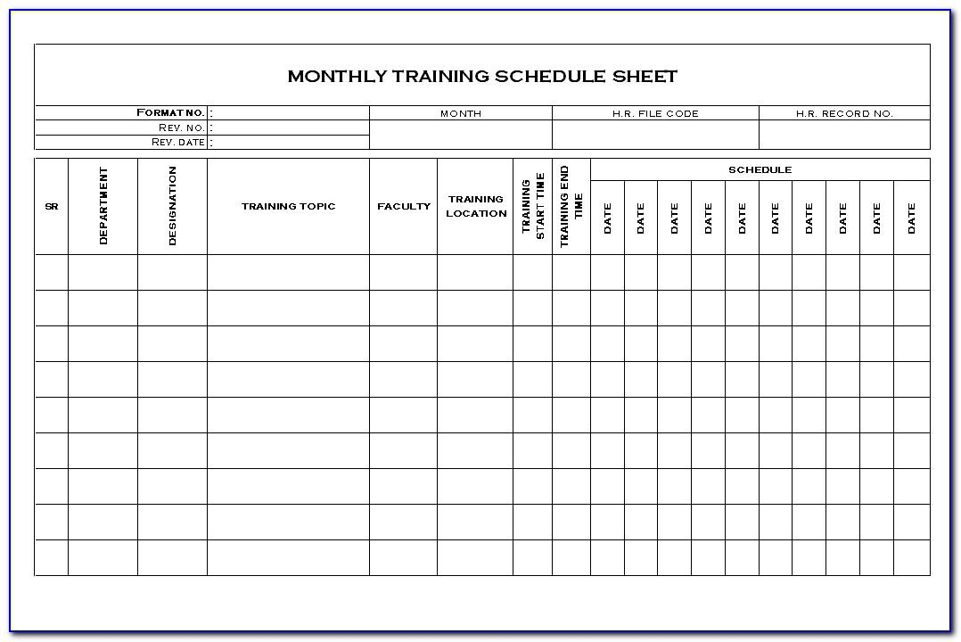 Army Monthly Training Calendar Template