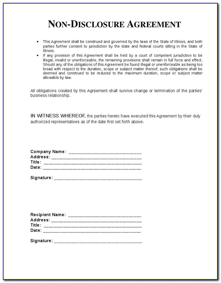 Australian Non Disclosure Agreement Template