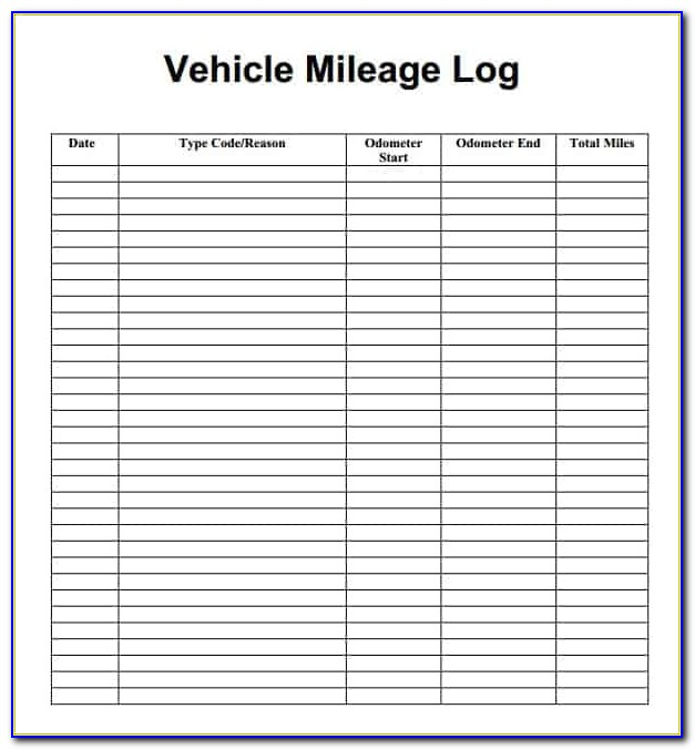 Auto Mileage Log Template Excel