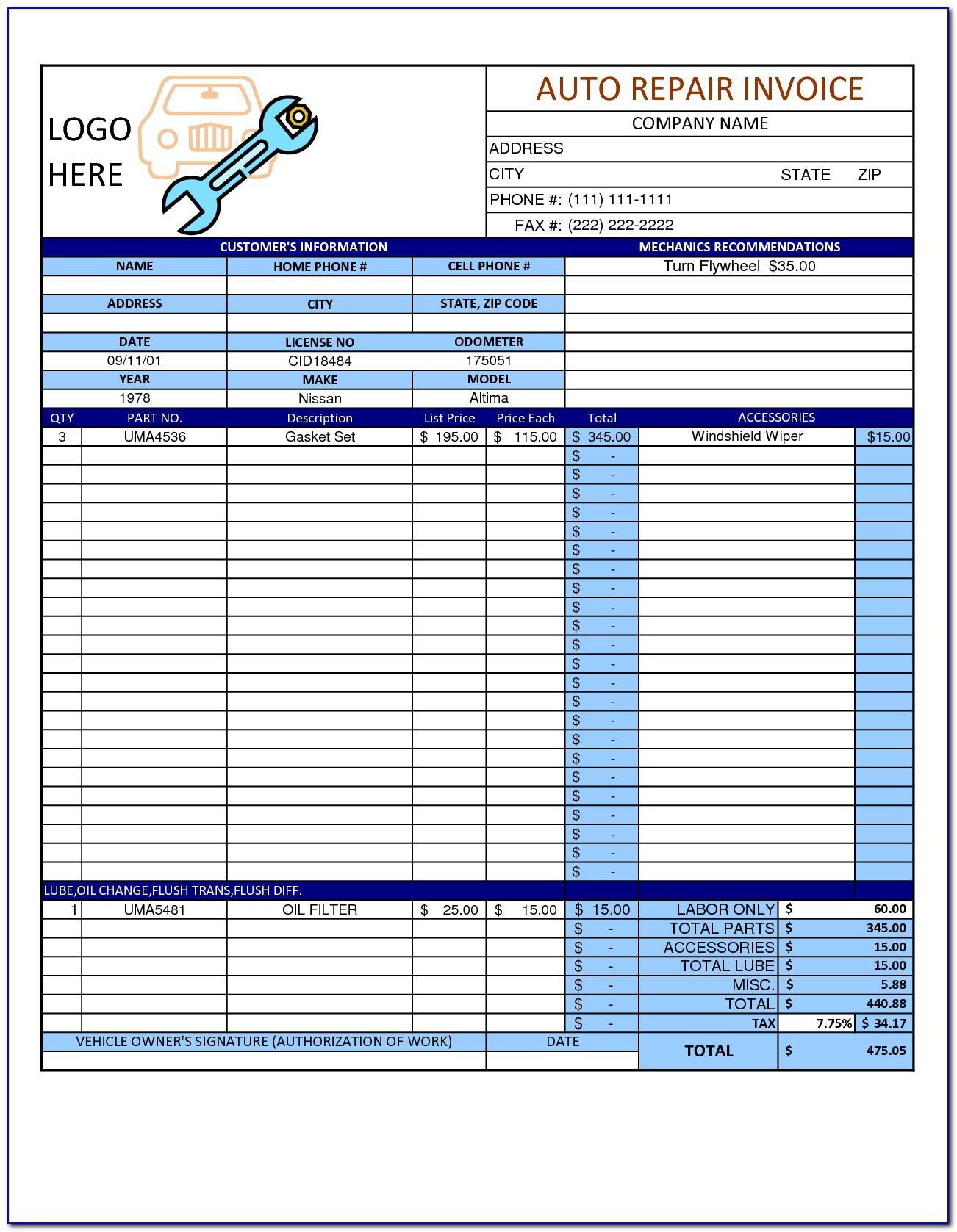 Auto Repair Shop Work Order Template
