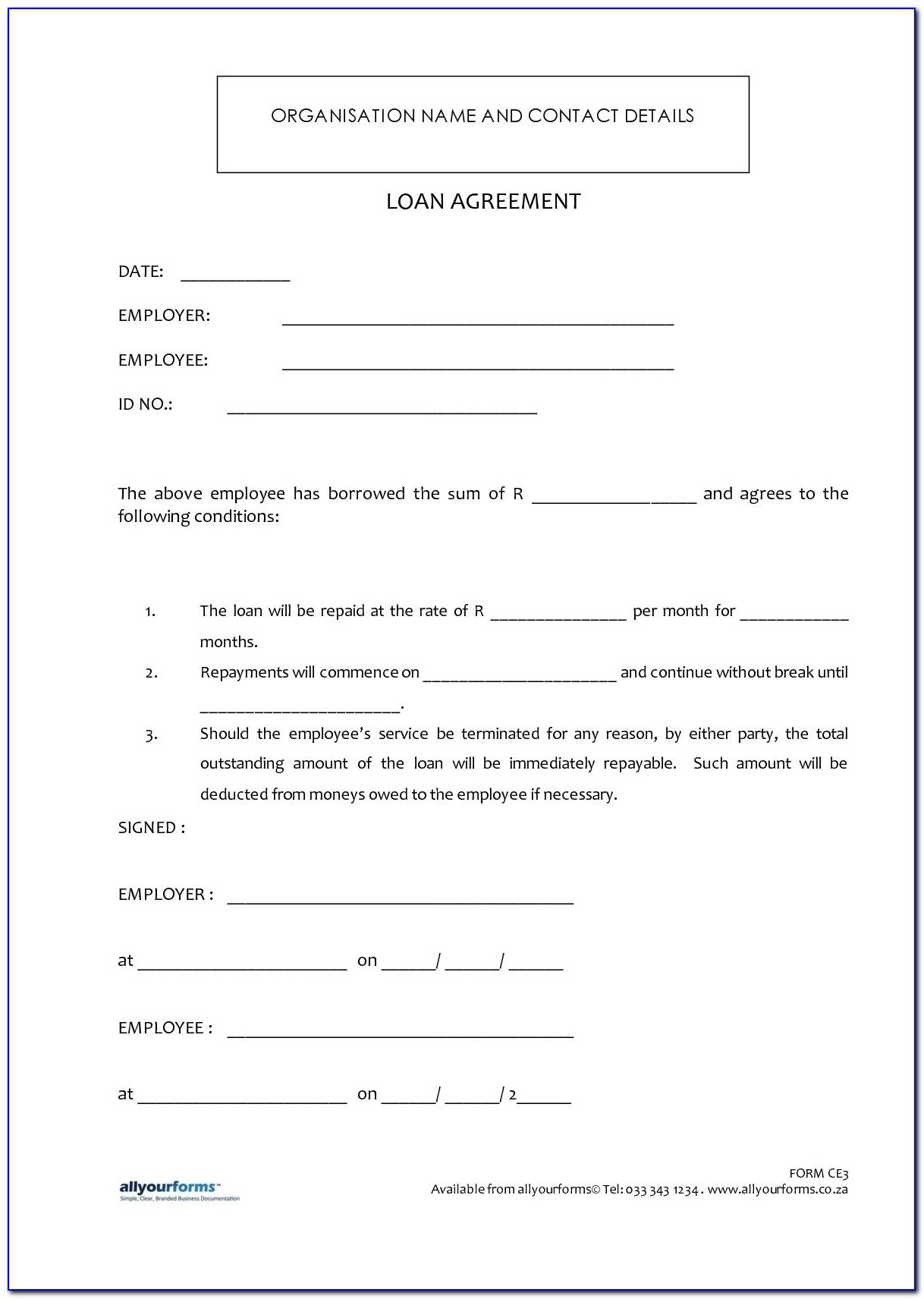 Borrow Money Contract Form