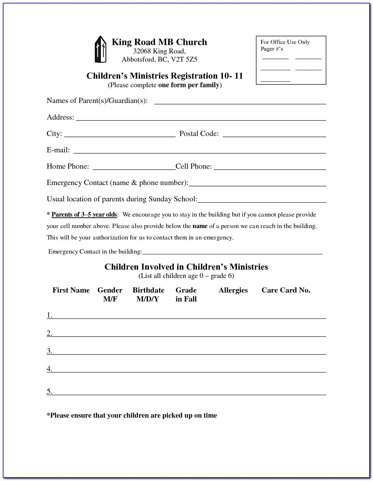 Church Event Registration Form Template